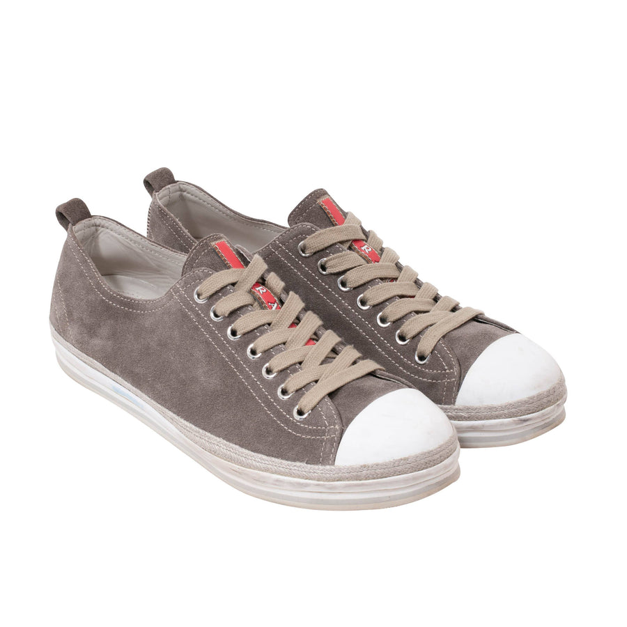 Suede Sneakers (Gray) Prada