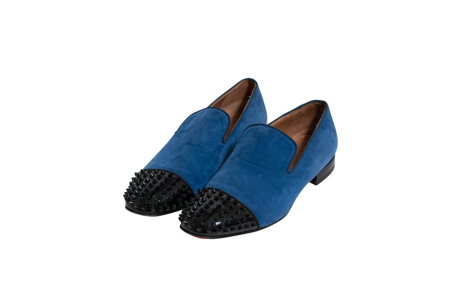 Suede Spike Captoe Loafer (Blue) CHRISTIAN LOUBOUTIN