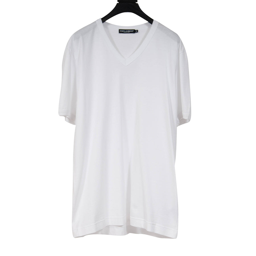 V Neck T Shirt (White) Dolce & Gabbana