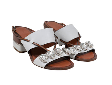 White Crystal Embellished Sandals Roberto Cavalli