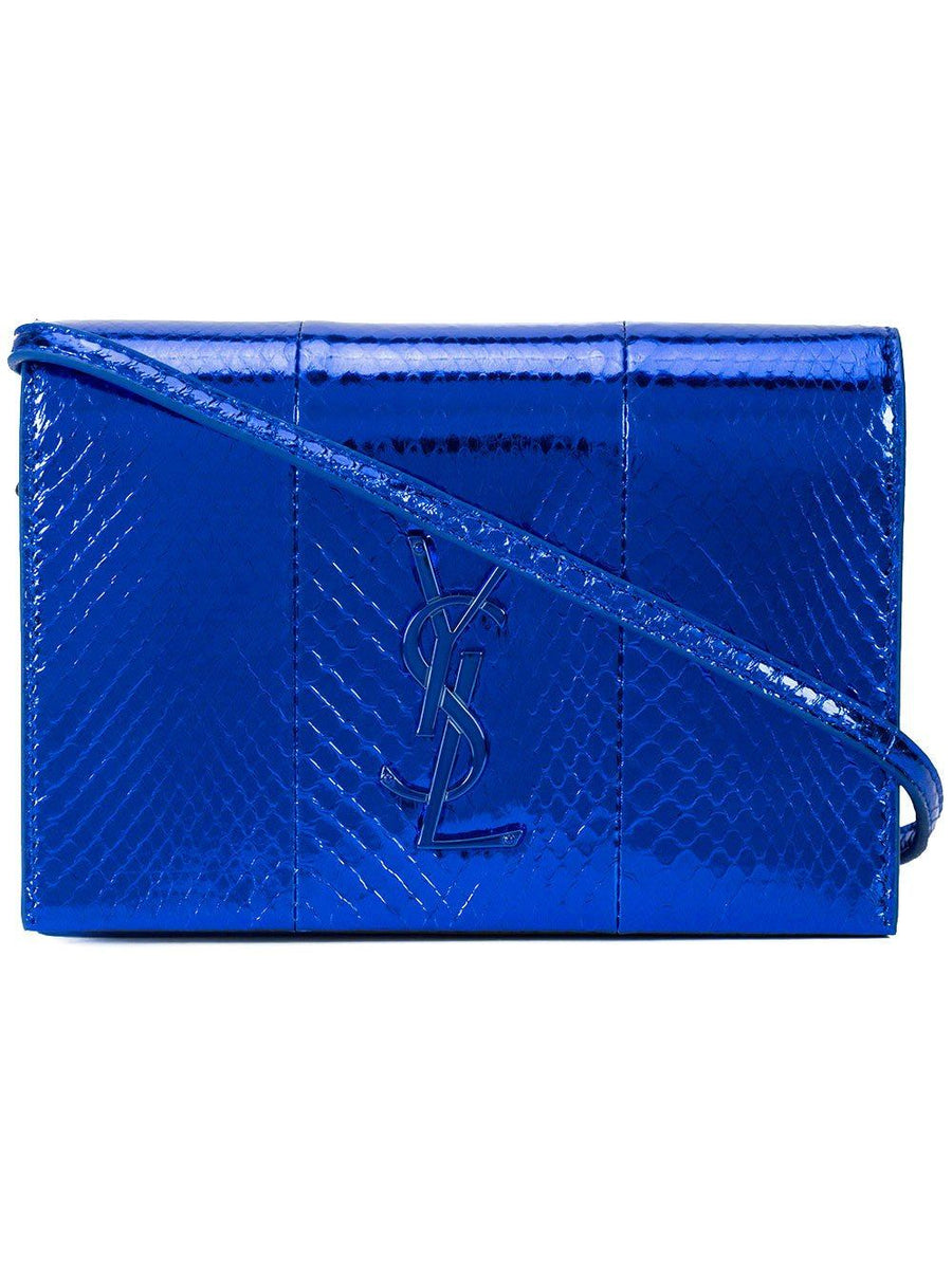 YSL Monogram Toy Kate Blue Snakeskin Leather Mini Shoulder Bag SAINT LAURENT
