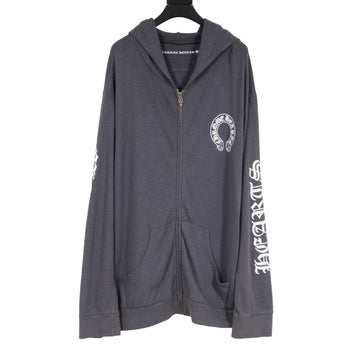 Zipped Logo Hoodie (Gray) CHROME HEARTS