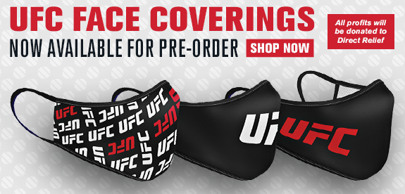 UFC face coverings now available for pre-order all profits will be donated to Direct Relief
