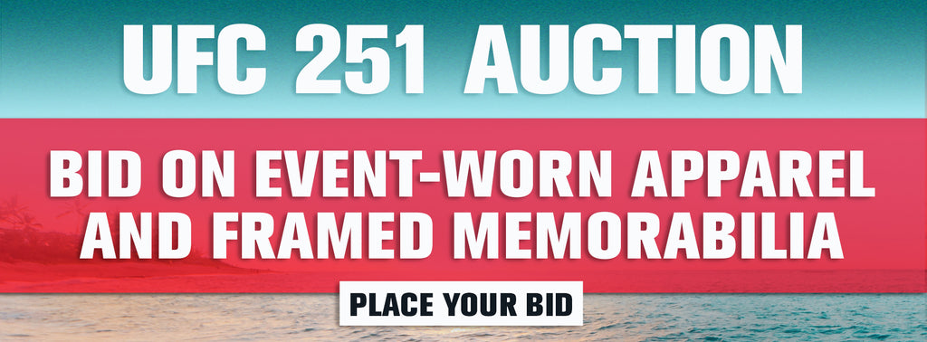 UFC 251 auction bid on event-worn apparel and framed memorabilia