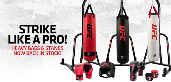 Strike like a pro! Heavy bags, stands, and striking accessories are now back in stock!