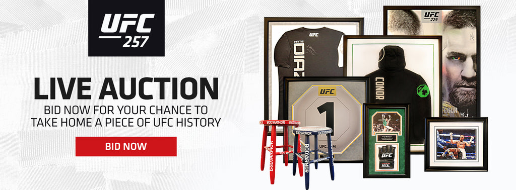 UFC 257 live auction bid now for your chance to take home a piece of UFC history bid now