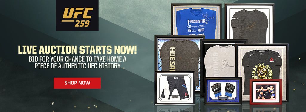 UFC 259 live auction starts now! Bid for your chance to take home a piece of authentic UFC history shop now