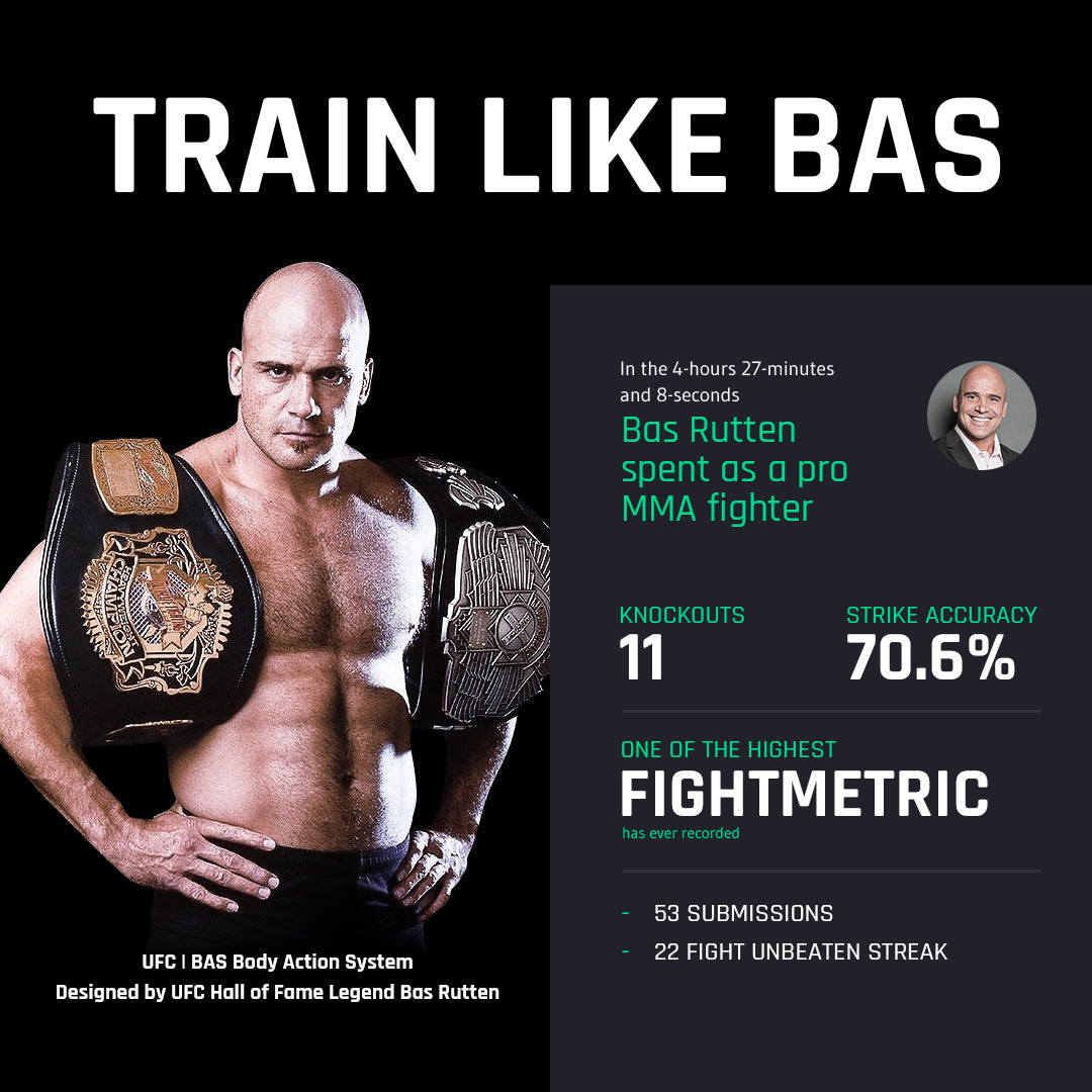TRAIN LIKE BAS UFC BAS Body Action System Designed by UFC Hall of Fame Legend Bas Rutten. In the 4-hours 27-minutes and 8-seconds Bas Rutten spent as a pro MMA fighter. KNOCKOUTS 11 STRIKE ACCURACY 70.6% ONE OF THE HIGHEST FIGHTMETRIC HAS EVER RECORDED. 53 SUBMISSIONS 22 FIGHT UNBEATEN STREAK.