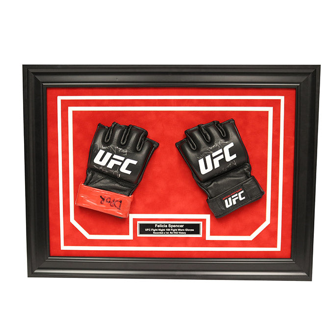 Felicia Spencer Autographed, Inscribed and Framed Fight Worn Gloves from UFC Fight Night 169-Norfolk