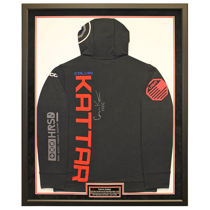 Calvin Kattar Autographed and Framed Event Worn Hoodie from UFC on ESPN: Kattar vs. Ige - Yas Island, Abu Dhabi