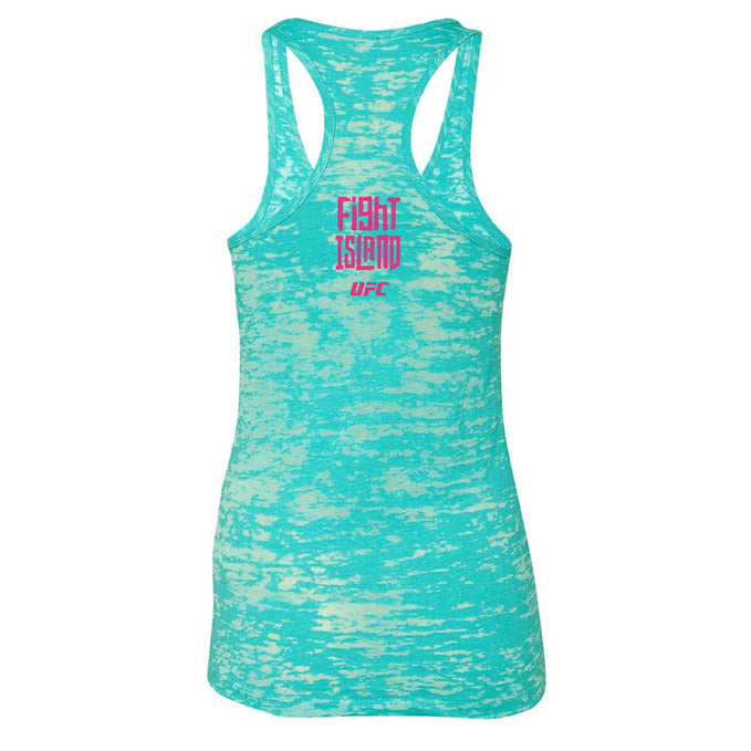 Women's UFC Fight Island Location Burn-Out Tank Top - Turquoise