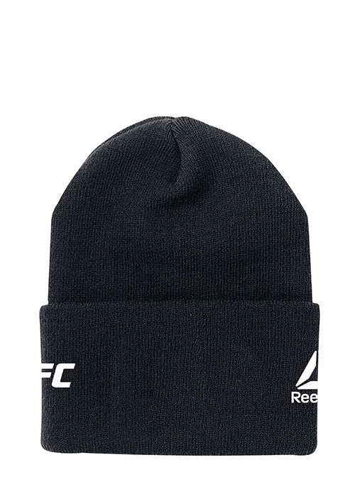 Official Black UFC Fight Night Brooklyn Weigh-In Cuffed Knit Beanie by Reebok