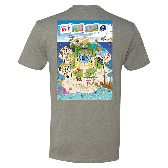 Men's UFC Fight Island Map Collection T-Shirt - Stone Grey