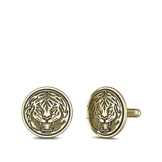 "UFC Conor ""The Notorious"" McGregor Tiger Cuff Links in 14K Yellow Gold"