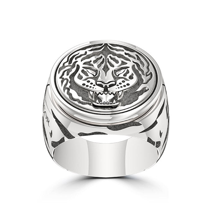 "UFC Conor ""The Notorious"" McGregor Tiger Ring in Sterling Silver"