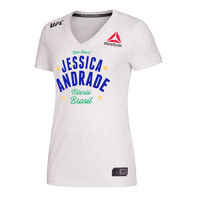 Women's Reebok Jessica Andrade Chalk Authentic UFC 237 Legacy Series Walkout Jersey