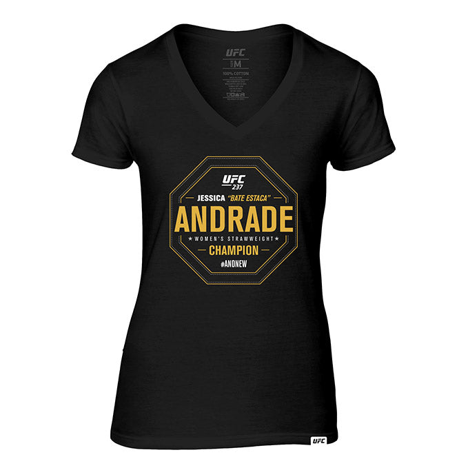 "Women's UFC 237 #AndNew Jessica ""Bate Estaca"" Andrade Strawweight Champion V-Neck"