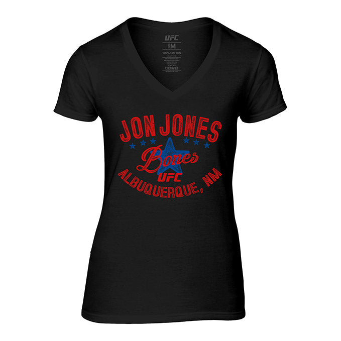 "Women's UFC Jon ""Bones"" Jones Vintage Graphic T-Shirt - Black"