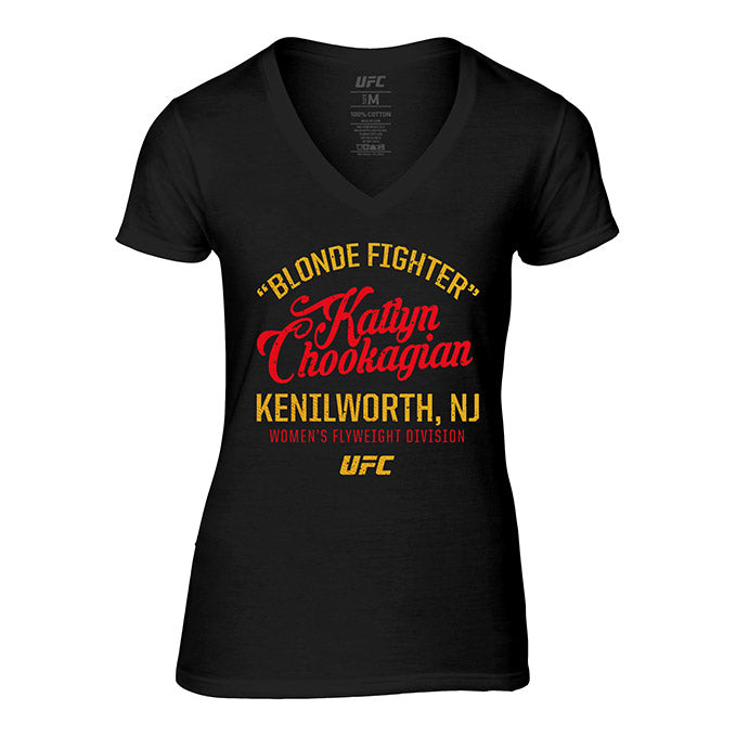 "Women's UFC ""Blonde Fighter"" Katlyn Chookagian V-Neck Tee - Black"