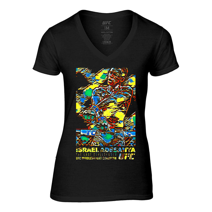 "Women's UFC Israel ""The Last Stylebender"" Adesanya Paint Burst T-Shirt - Black"