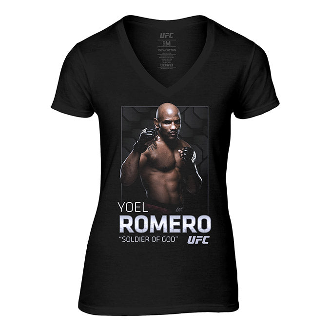 "Women's UFC Yoel ""Soldier of God"" Romero Photo V-Neck T-Shirt - Black"