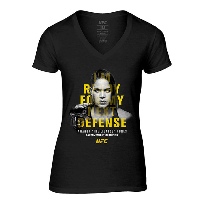 "Women's UFC Amanda ""The Lioness"" Nunes Defense Quote T-Shirt - Black"