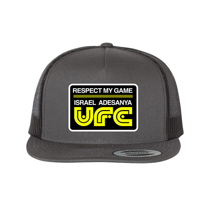 UFC Israel Adesayna Respect Collection Flat Bill Trucker Cap - Charcoal