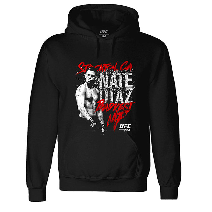 UFC 244 Nate Diaz Stockton 209 Baddest MF Graphic Sweatshirt - Black