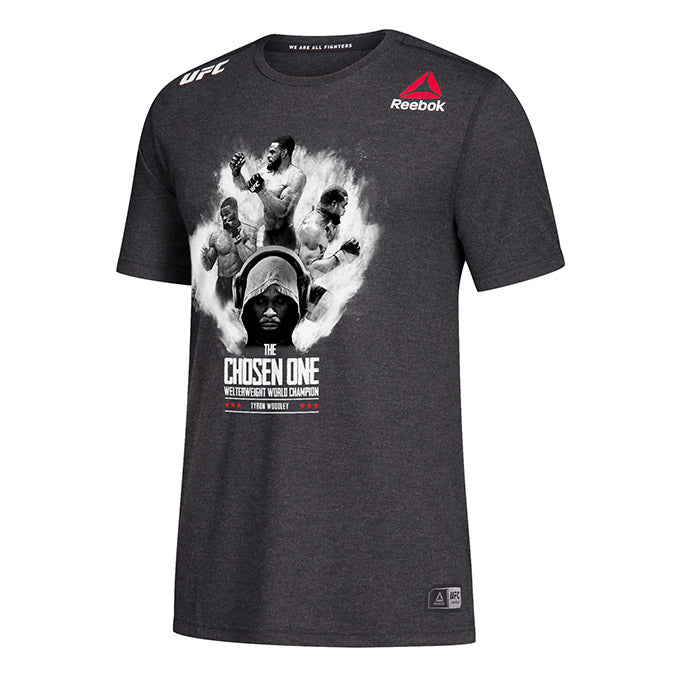 Men's Reebok Tyron Woodley Black Authentic UFC 235 Legacy Series Walkout Jersey.