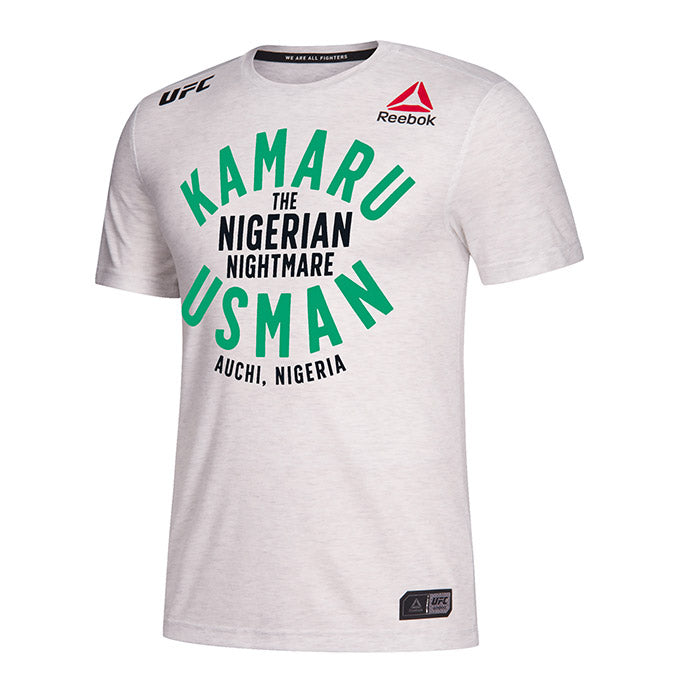 Men's Reebok Kamaru Usman Chalk Authentic UFC 235 Legacy Series Walkout Jersey.