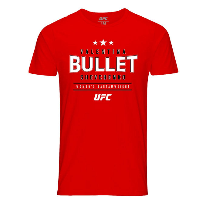 "Men's UFC Valentina ""Bullet"" Shevchenko Graphic T-Shirt - Red"