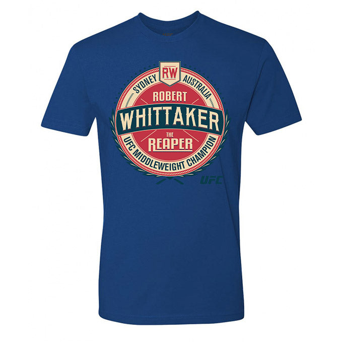 "Men's UFC Robert ""The Reaper"" Whittaker Vintage Crest Graphic T-Shirt - Royal Blue"