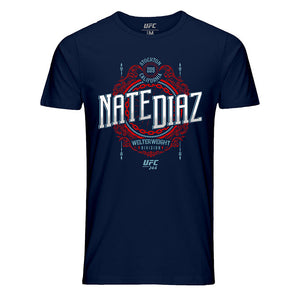 Men's UFC 244 Nate Diaz Stockton 209 Crest Graphic T-Shirt - Navy