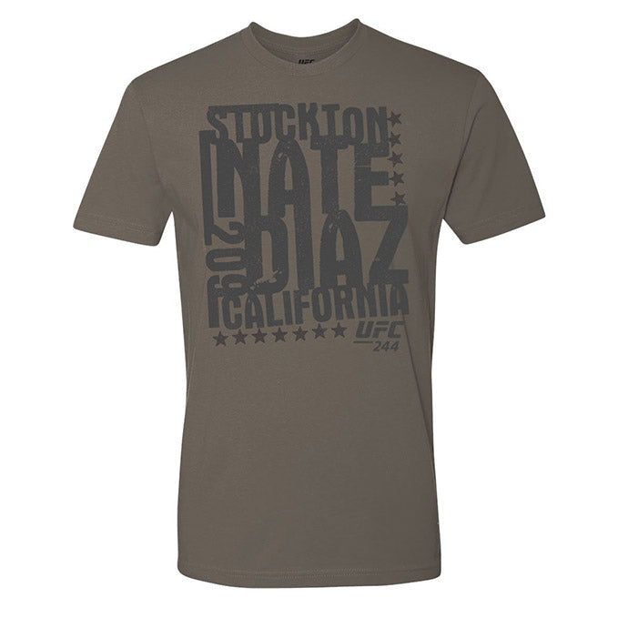 UFC 244 Nate Diaz Stockton 209 Stamp T-Shirt - Grey