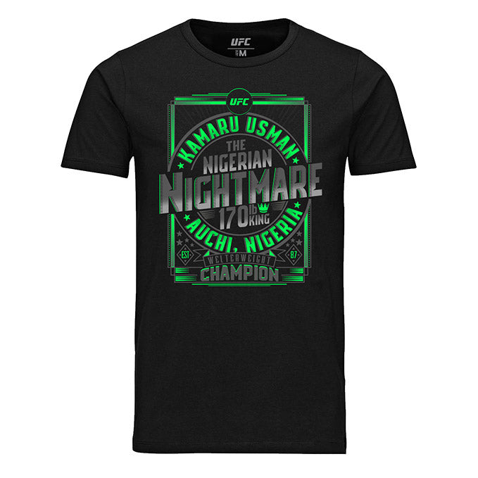 "Men's UFC Kamaru ""The Nigerian Nightmare"" Usman Welterweight Champion T-Shirt - Black"