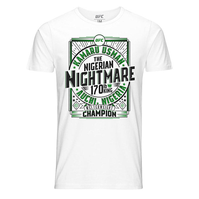 "Men's Kamaru ""The Nigerian Nightmare"" Usman Welterweight Champion T-Shirt - White"