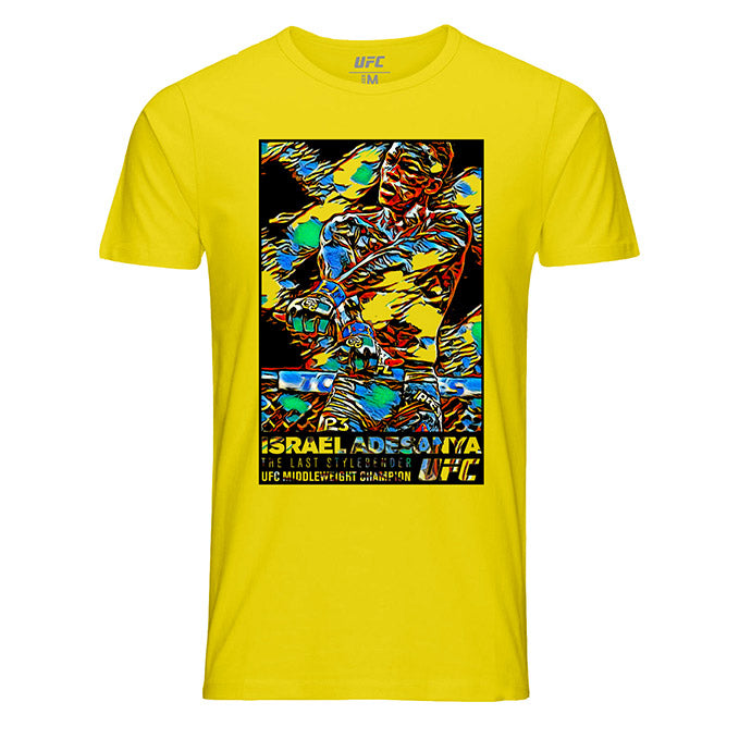 "Men's Israel ""The Last Stylebender"" Adesanya Paint Burst T-Shirt - Yellow"