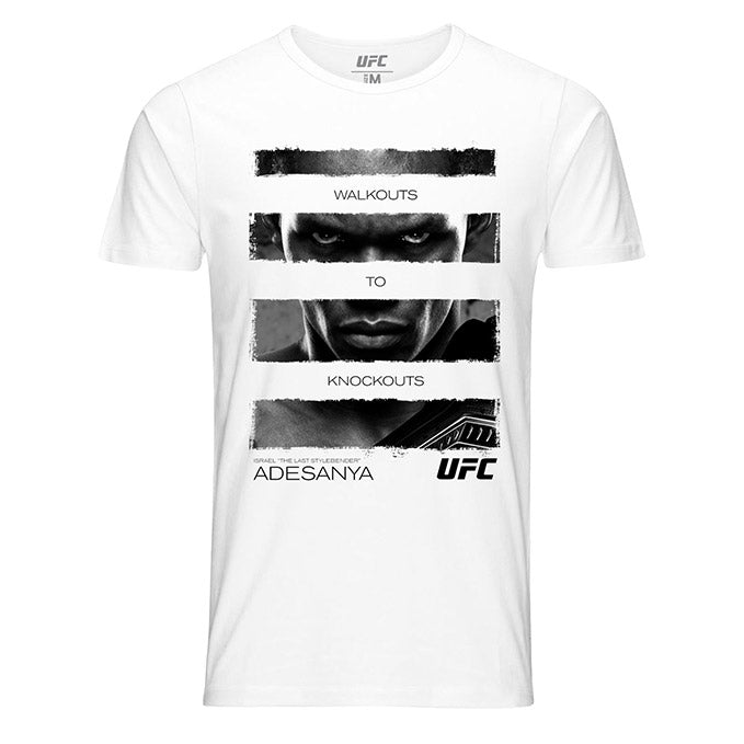 "Men's Israel ""The Last Stylebender"" Adesanya Walkouts to Knockouts Quote T-Shirt - White"