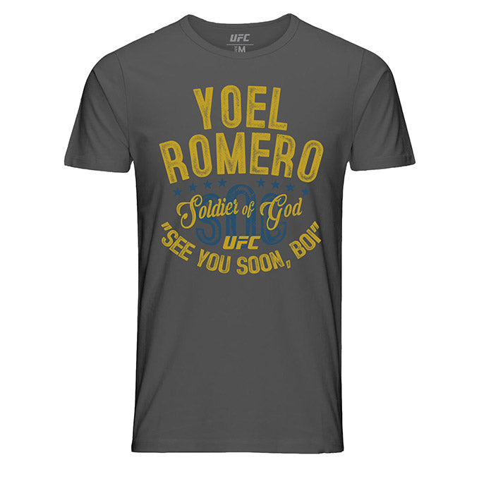 "Men's UFC Yoel ""Soldier of God"" Romero Vintage Script T-Shirt - Charcoal"