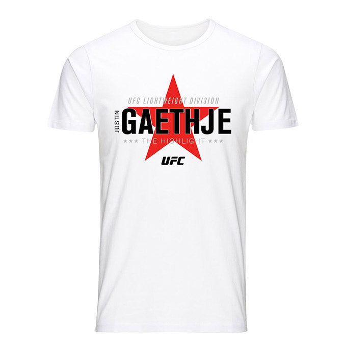 "Men's UFC Justin ""The Highlight"" Gaethje Star Graphic T-Shirt - White"