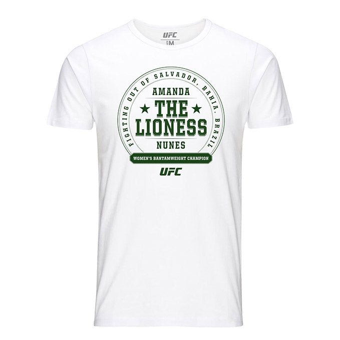 "Men's UFC Amanda ""The Lioness"" Nunes Crest T-Shirt - White"