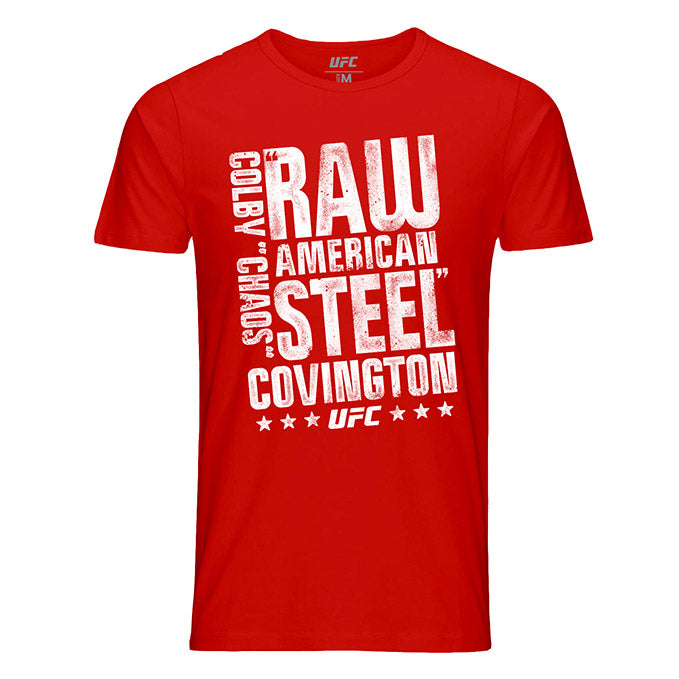 "Men's UFC Colby ""Chaos"" Covington American Steel T-Shirt - Red"