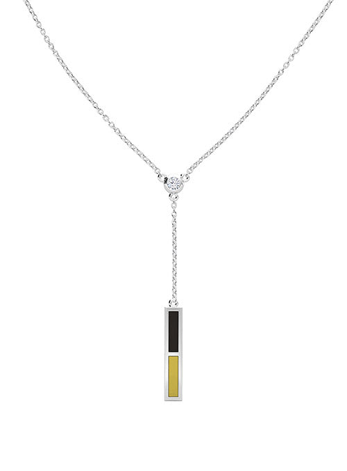 UFC Elements Black & Gold Enamel Diamond Drop Necklace in Sterling Silver