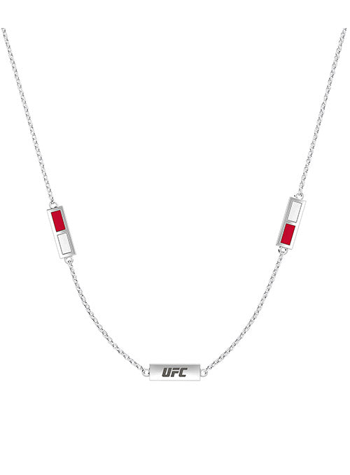 UFC Red & White Engraved Necklace
