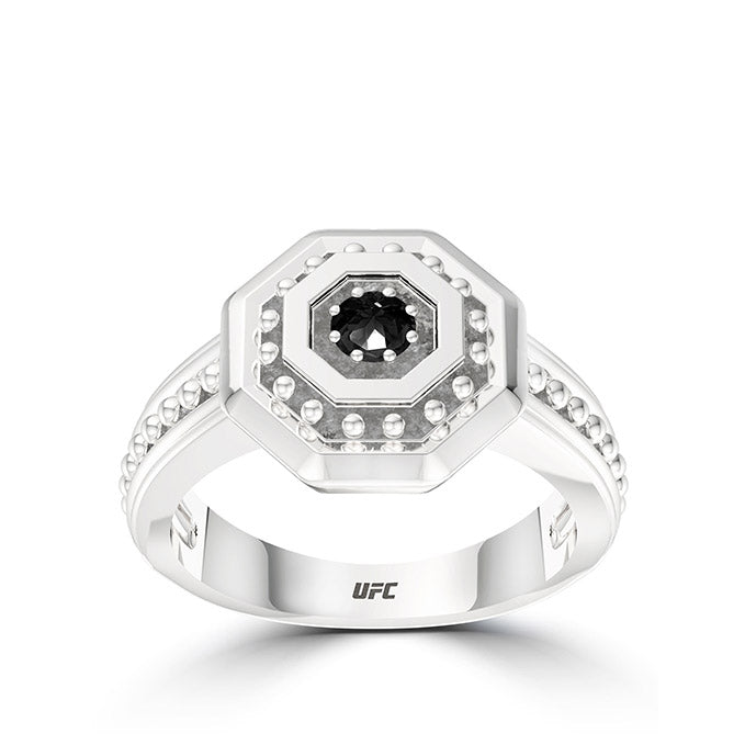 Deluxe UFC Octagon Beaded Black Diamond Ring in Sterling Silver