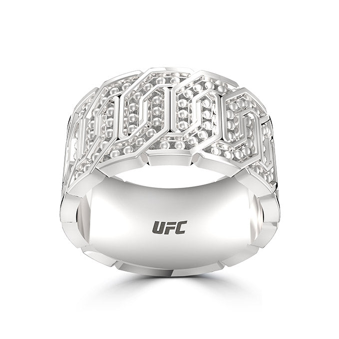 Deluxe UFC Octagon Beaded Ring in Sterling Silver