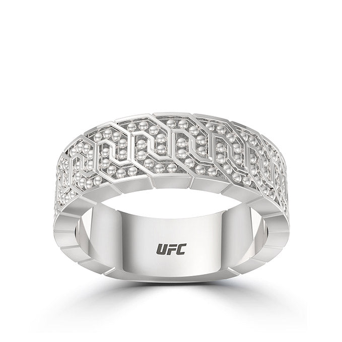 Deluxe UFC Octagon Beaded Womens Ring in Sterling Silver