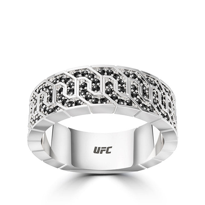 UFC Deluxe Octagon Black Diamond Ring in Sterling Silver