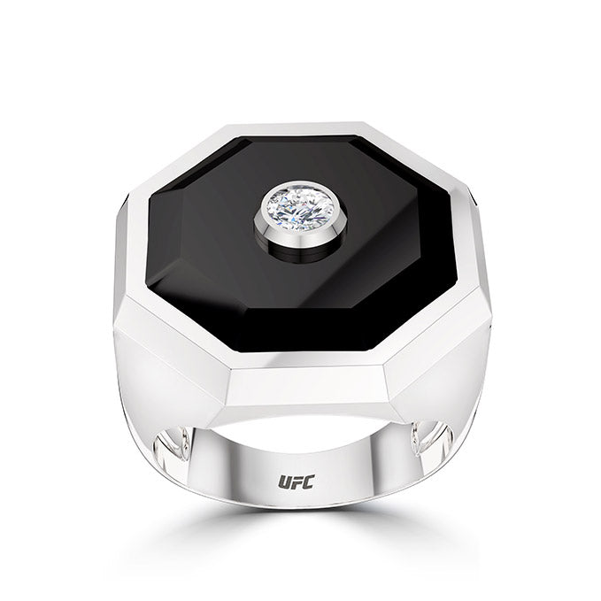 UFC Octagon Diamond Onyx Ring in Sterling Silver