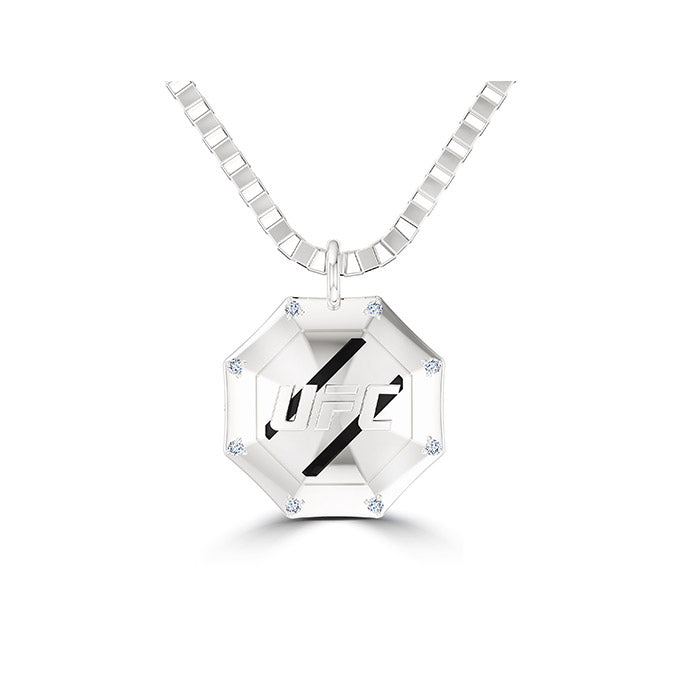 UFC Octagon Diamond Pendant in Sterling Silver